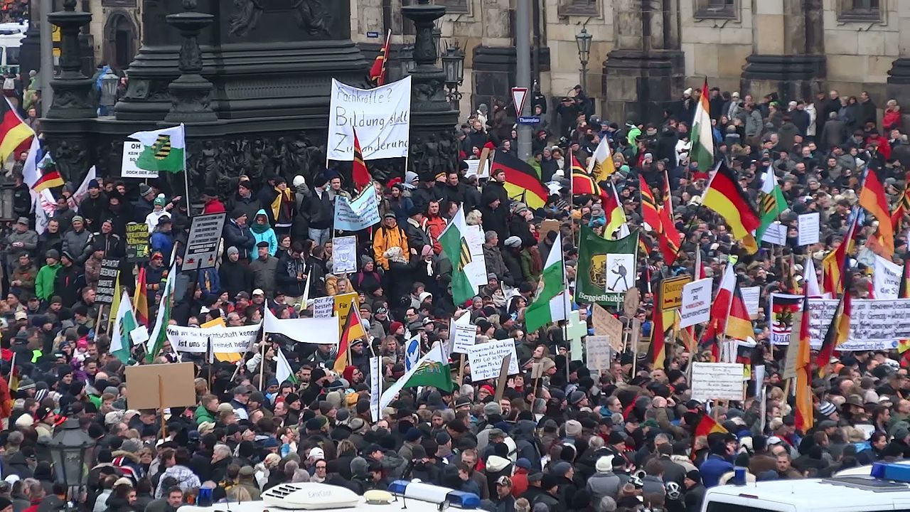 PEGIDA March in Dresden. Photo created by Kalispera Dell under a CC BY 3.0 licence. https://commons.wikimedia.org/wiki/File:PEGIDA_Demo_DRESDEN_25_Jan_2015_116227104.jpg